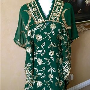 Green Gold Bead Brocade Caftan Gown fits 4-16, NWT